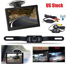 "Wireless 5"" Monitor Car Parking System Backup Reverse Camera IR Night Vision Kit"