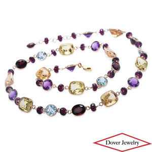Citrine Blue Topaz Garnet Amethyst 10K Gold Long Necklace 30.5 Gr NR