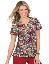{XS} Koi Medical Uniform Scrub Top Kathryn Kellog's Snap Crackle Pop Scrub