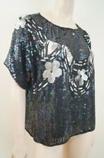 Black White Sequin Beaded Embellished Pure Silk Floral Short Sleeve Evening Top