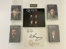 More details for queen greatest hits signed / autographed cd with 4 coloured cassettes & badge