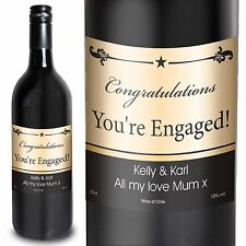 Personalised Red Wine Black Border 75cl Valentines, for couples, Congratulations