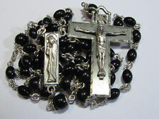 † INTERESTING STYLE SIGNED CREED VINTAGE STERLING & BLACK CAPPED PATER ROSARY †