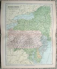 Original Map of the Middle Atlantic States by Wm Collins Sons & Co. c1875