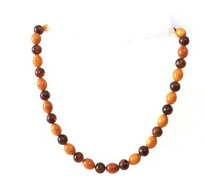Two Color Pressed Baltic Amber Necklace Cognac Butterscoth Olives Round Beads