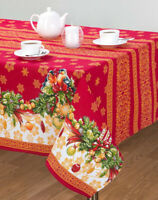 Red Rectangular Tablecloth Christmas Print Bullfinches 100% Cotton Made Russia