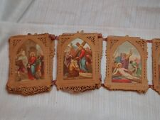 ANTIQUE SIMILAR BANNER STATIONS OF THE CROSS HANDMADE ORNATE COLORFUL PRINTS