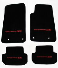 NEW BLACK Floor Mats 2010-2015 Camaro Embroidered Logo and SS in Red on all 4 pc