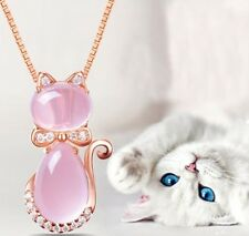 Rose Gold Plated Crystal Rhinestone Opal Cute Cat Pendant Necklace