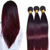 Brazilian 2-Tone 1B /99J Straight 1-3Bundles Weft Virgin Human Remy Hair Wine