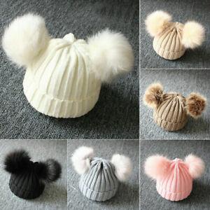 Baby Double Pom Pom Hat 2 Bobble Beanie Knitted Winter Warm Boy Girl Newborn-24M