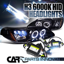 Glossy Black 94-98 Mustang Smoke Halo LED Projector Headlights+H3 6000K HID Kit