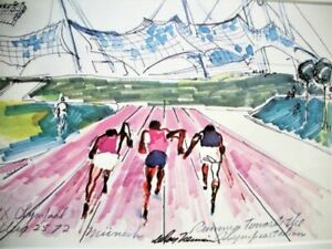 1972 Olympics Running Track Serigraph Leroy Neiman Framed Olympiad Artwork Mint