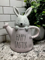 """Rae Dunn Bunny """"Happy Easter""""  Pink Watering Can Easter Decor/NEW"""
