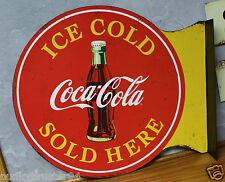 Coca Cola COKE METAL flange signs vintage style button cooler machine fountain