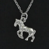 Clydesdale Horse Necklace - Pewter Charm on Cable Chain Work Working Beer NEW