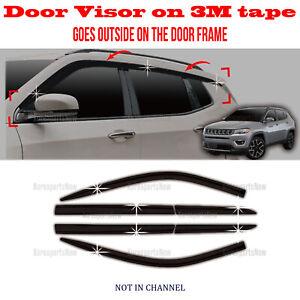 ⭐6pcs⭐ Window Door Visor Vent Shade Rain Guard fits Jeep Compass 2017-2021