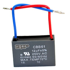 HQRP Replacement Motor Capacitor for Hampton Bay Ceiling Fan 12uF 2-Wire CBB61