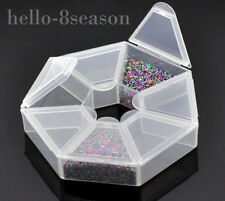 2x 7 Compartments Clear Plastic Craft Beads Jewellery Storage Organiser 9x9x2cm