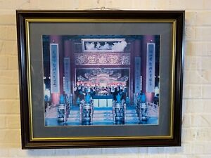 Vintage Emperor of China in Throne Room Surrounded by Adviser Framed Photographi