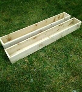 PAIR of TANALISED WOODEN GARDEN PLANTERS, Patio, Window Box, Various Sizes
