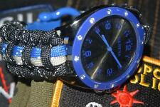Custom Mens Extreme Thin Blue Line Police  Law Enforcement 550 Paracord Watch