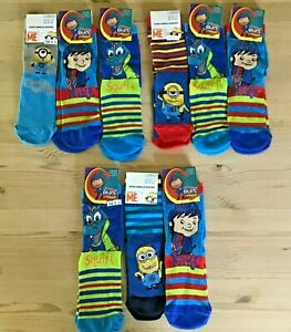 Minions Moshi Monsters Mike the Knight Bart Simpson Socks Mix 3 Pairs Boy Girl