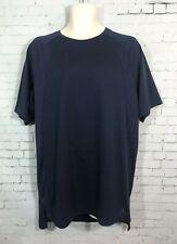 Air Jordan Short Sleeve Top Mens Size Large Solid Navy Blue Shirt Mesh Inserts