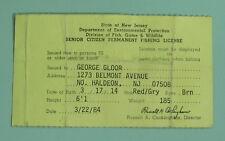 1984 North Haldeon New Jersey Senior Citizen Permanent Fishing License Permit