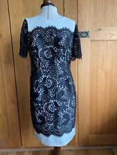 Marks & Spence Autograph ivory & black lace dress UK size 12 EU 38