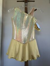 """Icings Nwt """"Pure Gold"""" Ice Figure Roller Skating Dance Baton Dress"""