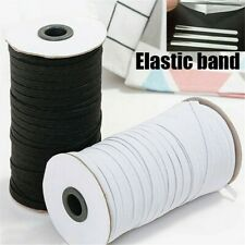 200 Yards Length Braided Elastic Band Cord Soft Knit Band Sewing White/Black NEW
