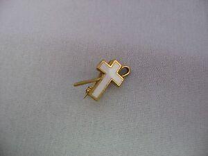 Rare Vintage 1930s White Enamel Religious Cross w/ Staff ~ Patent 2,066,969 ~