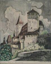 RARE EUROPEAN 1947 MIXED MEDIA PAINTING NUREMBERG BY LASZLO KOVACS!