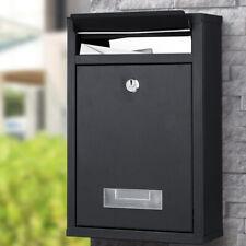 Cassetta Postale Parete in Acciaio Buca Lettere Posta Esterno con Chiave Nero