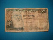 Billet Ancien 100 Francs CONGO BELGE  1955