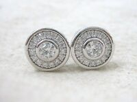 NEW - 92.5% Sterling Silver Clear Round Bezel Cz Halo Stud Earrings Women Teen