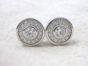 NEW - 92.5% Sterling Silver Clear Round Bezel Cz Halo Stud Earrings Women Teen
