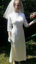 Vintage Original 60s Ivory Guipure lace & Duchess Satin Wedding Dress size 8/10