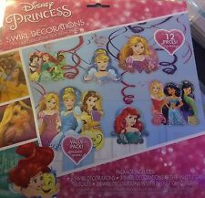 12 Piece Disney Princess Hanging Swirls Ariel Jasmine Birthday Party Decorations