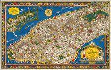 "20x30"" CANVAS Decor.Room design art print..1926 Aerial map of Manhattan.6125"