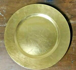 "Set of Four (4) Gold Chargers- lacquer on black plastic decorative plates,13"" rd"