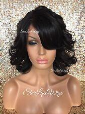 Lace Front Wig Wavy Layered Bangs Jet Black #1 Side Part Heat Safe Ok