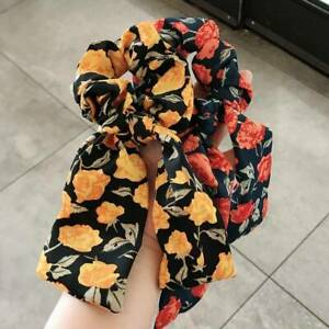 Scrunchies Ribbon Band Ponytail Scarf Bow Satin Hair Rope Ties Flower Leopard