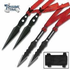 NEW Throwing Knife Set 4 Piece Black Knives & Sheath