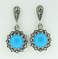 Sterling Silver 925 Swiss Marcasite & Recon Turquoise Drop Dangle Earrings