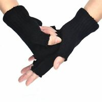 Black Warm Winter Fingerless Gloves Knitted Gloves Mittens Half Finger Gloves