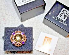 Gold Tone Nicky Butler Ring  YELLOW & PURPLE  Gem Stone  size 10 NEW Ladies