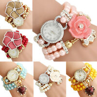 Fashion Women Flower Pearl Bracelet Watch Ladies Girl Dress Quartz Wrist Watches