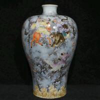 "16.2 ""Old China Qing Famille Rose Porcelaine Investiture of the Gods Bottle Vase"